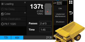 Operator Screen for a haul truck